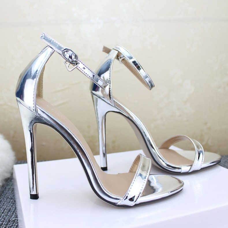 9033489871 855635146 LTARTA Shoes women's Shoes Sandals With Buckle High Heels Gold And Silver Wedding Shoes Large Size 43 ZL-300-7