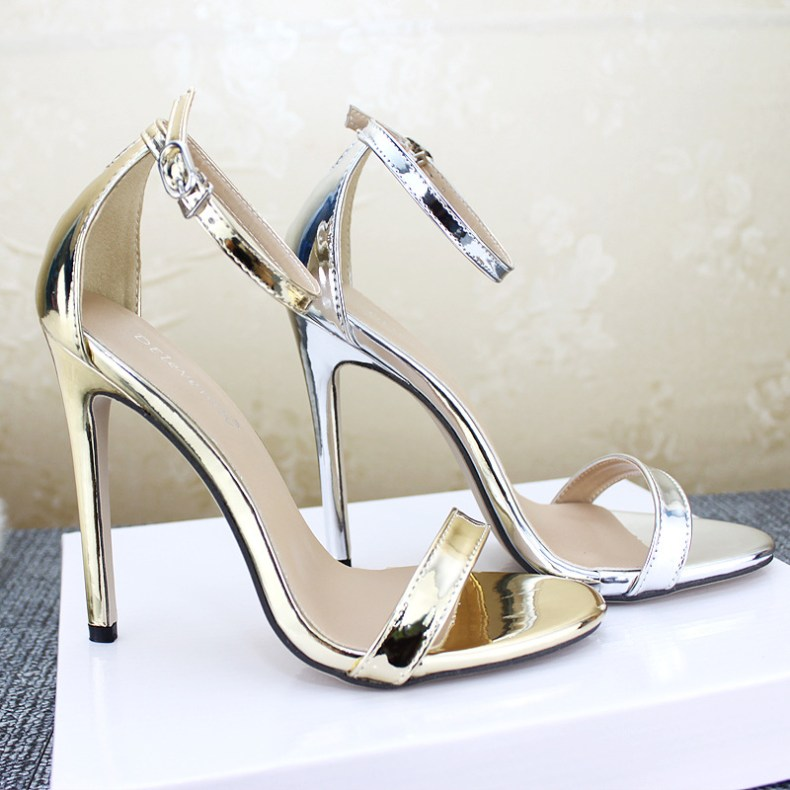 9072674392 855635146 LTARTA Shoes women's Shoes Sandals With Buckle High Heels Gold And Silver Wedding Shoes Large Size 43 ZL-300-7