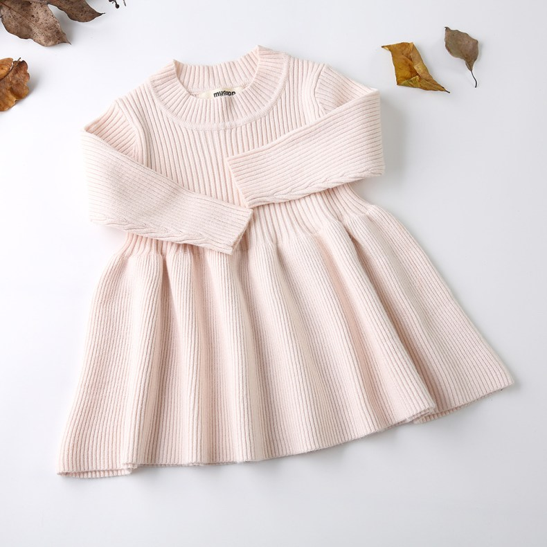 9275991792 303410146 Girls Knitted Dress 2019 autumn winter Clothes Lattice Kids Toddler baby dress for girl princess Cotton warm Christmas Dresses