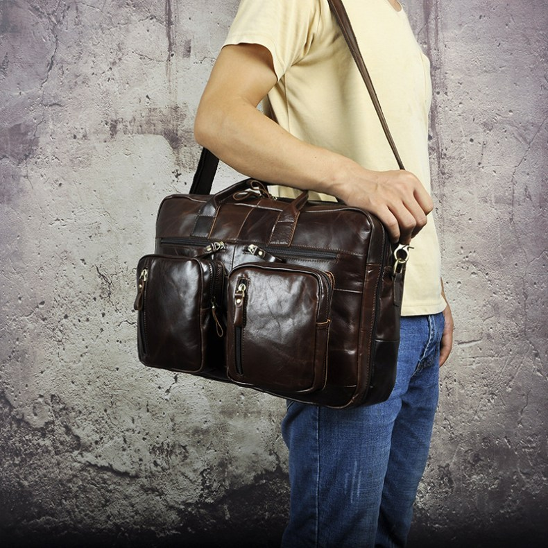 9221663294 2068518898 Men Oil Waxy Leather Antique Design Business Travel Briefcase Laptop Bag Fashion Attache Messenger Bag Tote Portfolio Male k1013