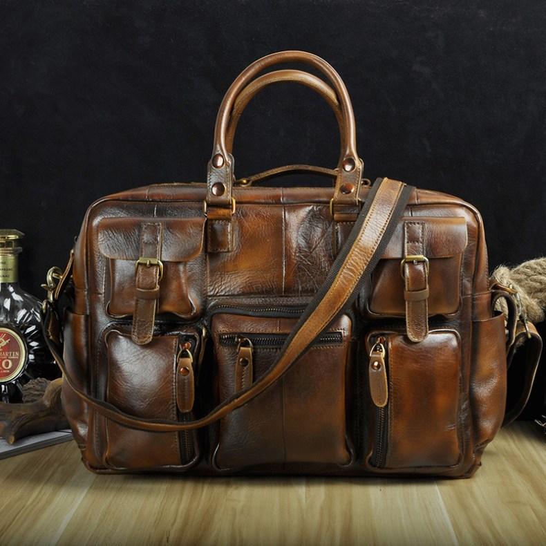 """9560119717 2068518898 Men Real Leather Antique Large Capacity Travel Briefcase Business 15.6"""" Laptop Case Attache Messenger Bag Portfolio 3061-b"""