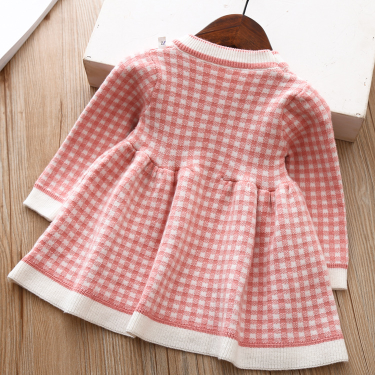 9056739548 2069268434 Girls Knitted Dress 2019 autumn winter Clothes Lattice Kids Toddler baby dress for girl princess Cotton warm Christmas Dresses