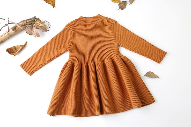 9319166648 303410146 Girls Knitted Dress 2019 autumn winter Clothes Lattice Kids Toddler baby dress for girl princess Cotton warm Christmas Dresses