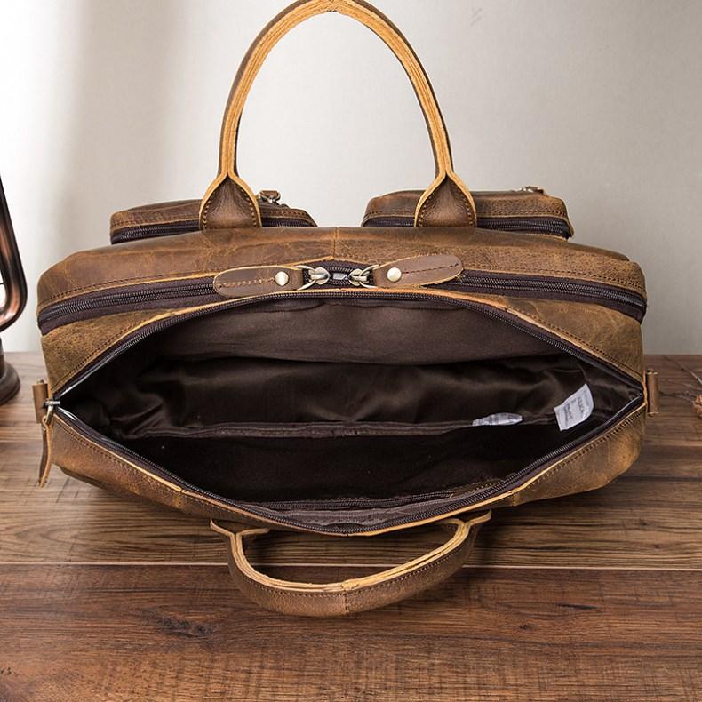 9683782358 2068518898 Men Oil Waxy Leather Antique Design Business Travel Briefcase Laptop Bag Fashion Attache Messenger Bag Tote Portfolio Male k1013