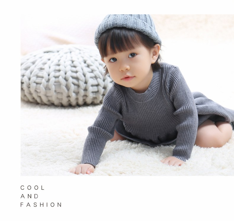 9275994798 303410146 Girls Knitted Dress 2019 autumn winter Clothes Lattice Kids Toddler baby dress for girl princess Cotton warm Christmas Dresses