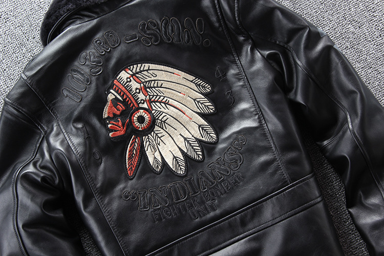 10106398998 617227679 2019 New Men Embroidery Indian Skull Air force flight A1 Pilot Sheepskin Jacket Casual Wool collar Real leather jacket S-XXXL