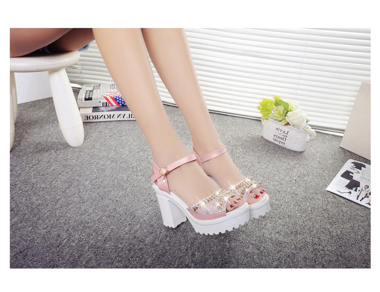 8581187929 1249109371 ELGEER 2019 new thick with sandals female summer diamond fish mouth thick bottom muffin waterproof platform with high
