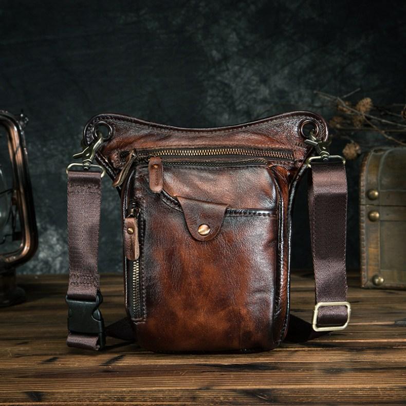 Genuine Leather Men Design Casual Brown Classic Shoulder Sling Bag Fashion Travel Fanny Waist Belt Pack Leg Bag 211-5-dc