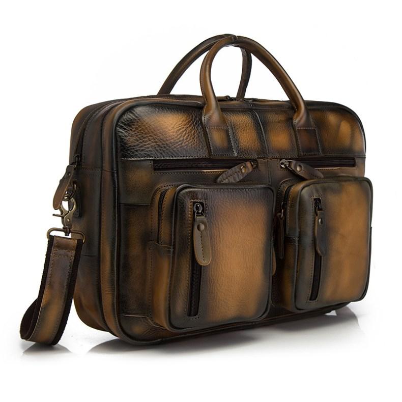 10423480733 2068518898 Men Oil Waxy Leather Antique Design Business Travel Briefcase Laptop Bag Fashion Attache Messenger Bag Tote Portfolio Male k1013