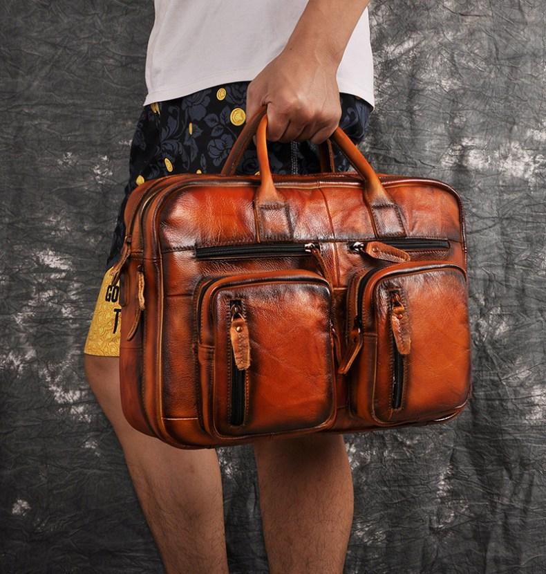 12261972586 2068518898 Men Oil Waxy Leather Antique Design Business Travel Briefcase Laptop Bag Fashion Attache Messenger Bag Tote Portfolio Male k1013
