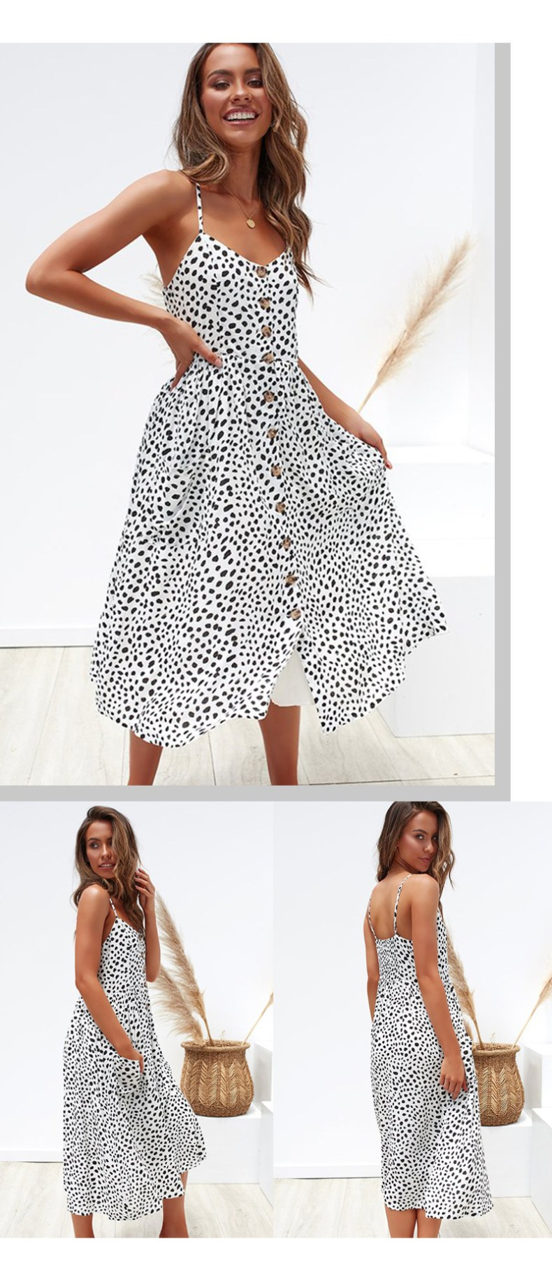 10677385458 1685006654 Women Summer Dress 2019 Boho Sexy Spaghetti Straps Floral Beach Dress With Pocket Midi Button Backless Sundress Female Vestidos