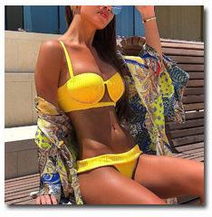 10876443239 1329338609 INGAGA Bikini 2019 One Shoulder Swimsuit Ruffle Swimwear Women Solid Women's Swimming Suit maillot de bain femme Sexy Biquini