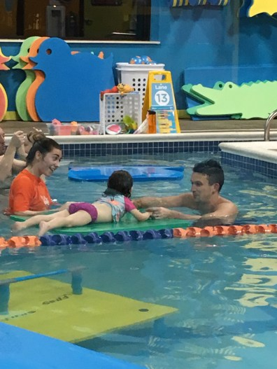 CBUS Dads dad blogger Steve Michalovich in mid-lesson with his daughter at Goldfish Swim School in Westerville.