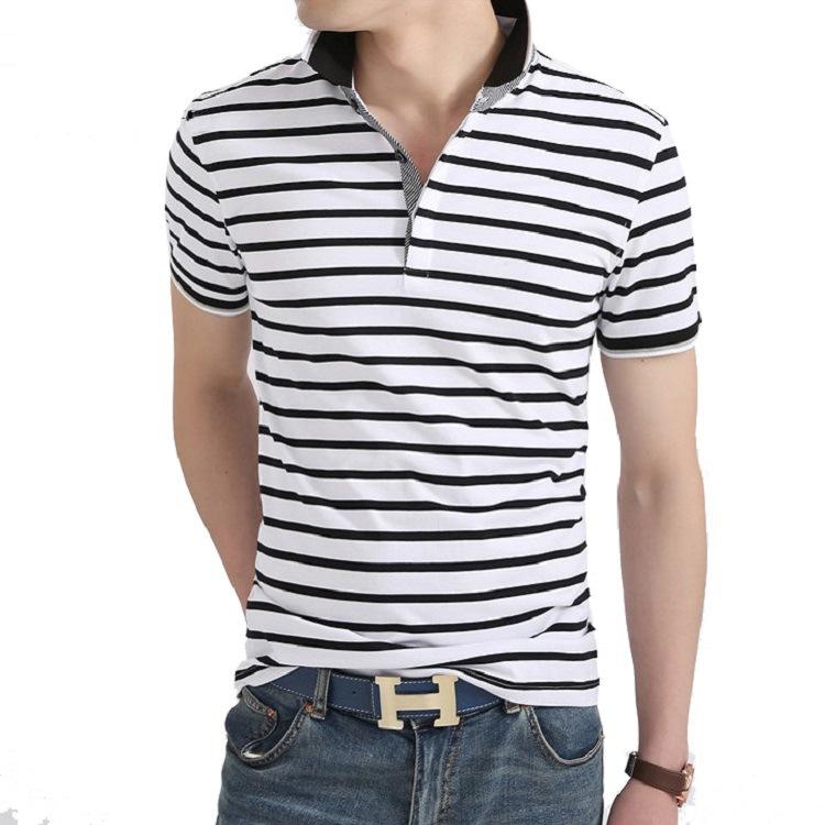 Camiseta de rayas con solapa casual para hombre, polo de verano.