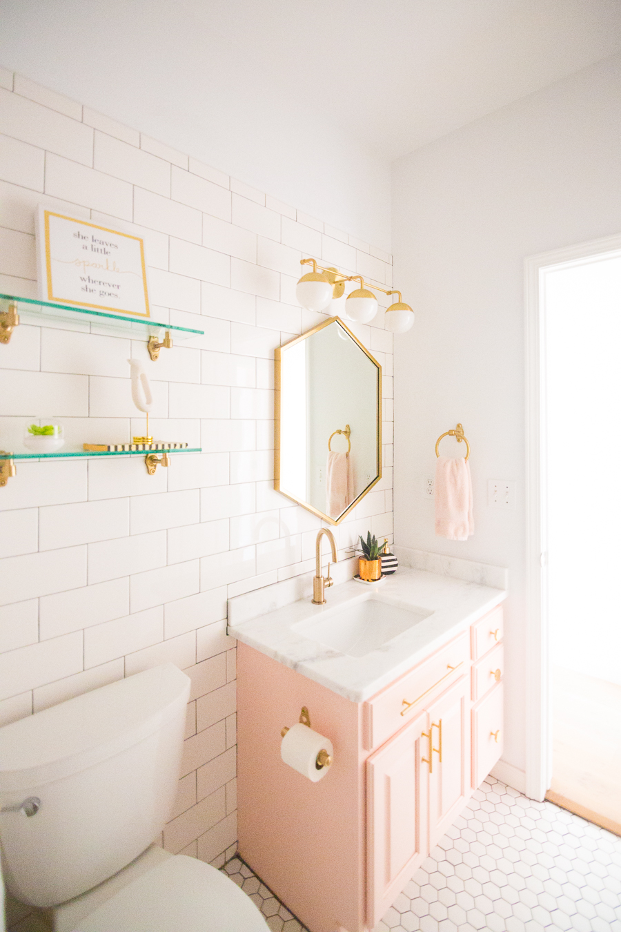 Modern Glam Blush Girls Bathroom Design | CC and MIke ... on Bathroom Models  id=72270