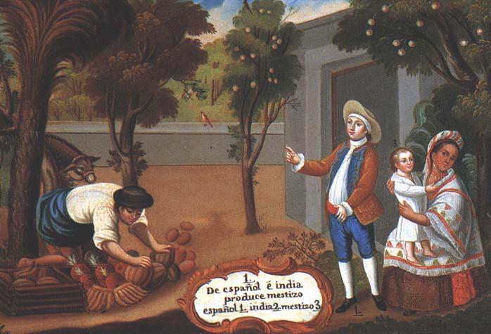 Spaniard + Indian = Mestizo