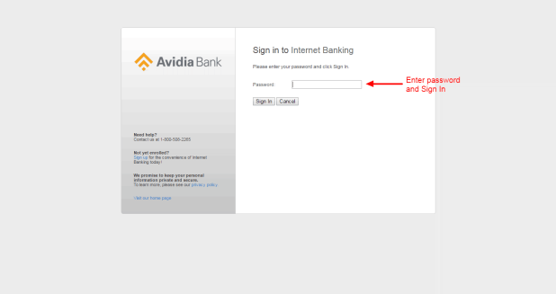 Avidia Bank login 4