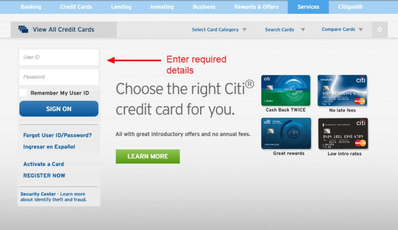 Citibank Credit Card Register Online India