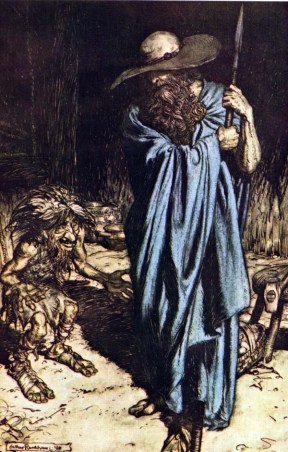 """Wotan visits Mime and offers him his help."" Illustration to Richard Wagner's Siegfried by Arthur Rackham. 1911"