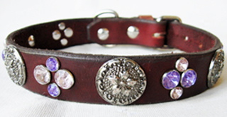 CCC Western Leather Dog Collars - Crystal Cluster