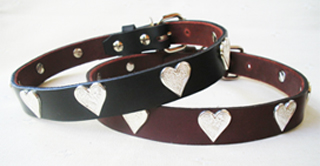 CCC Western Leather Dog Collars - Western Heart