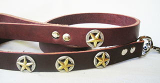 CCC Western Leather Dog Collars - Deputy Dawg Leash