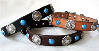 CCC Western Leather Dog Collars - Berry Bezel