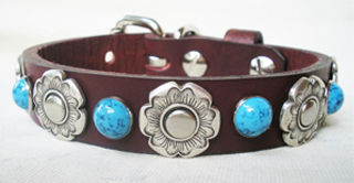 CCC Western Leather Dog Collars - Flower Bezel