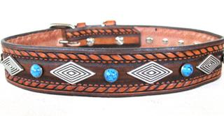 Leather Dog Collars at CCC - Dakota Dawg Designer Collection Diamonds