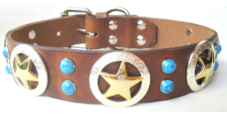 CCC Western Leather Dog Collars - Shiny Deputy Dawg