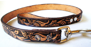 CCC Western Leather Dog Collars - Tooled Leather Leash