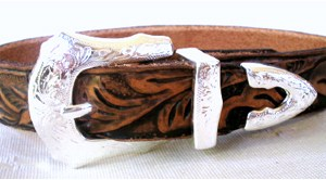 CCC Western Leather Dog Collars - Tooled Rodeo Rover