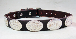 CCC Western Leather Dog Collars - Oval Trophy