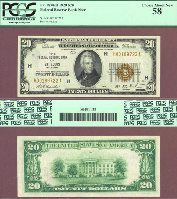 1929 $20 FR-1870-H St. Louis   Corpus Christi Coin & Currency