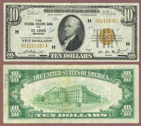 1929 $10 FR-1860-H St. Louis   Corpus Christi Coin & Currency