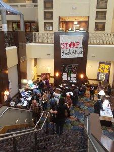 STOP THE FRACK ATTACK lobby in Denver, CO.