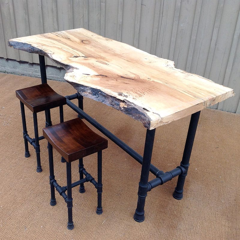 Live Edge Pub Table with Distillery Stools
