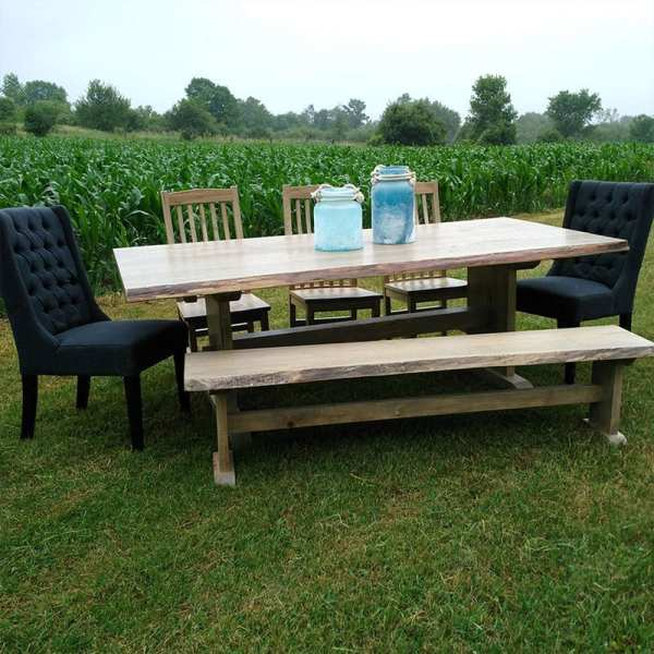 Timber Ridge Table with Pin-Trestle Base with Mini Contour Chairs