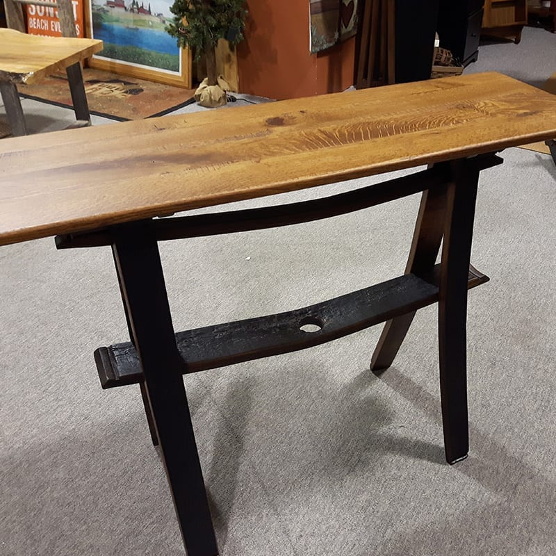 Whiskey Barrel Sofa Table