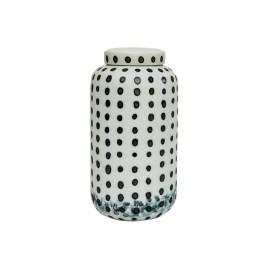 Black Dotty Ceramic Jar with Lid