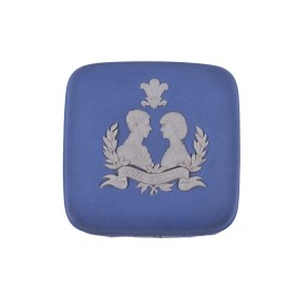 Wedgewood Blue Jasperware  Square Trinket (1981 Royal Wedding Prince of Wales & Lady Diana)