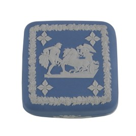 Wedgwood Blue Jasperware Square Trinket Box