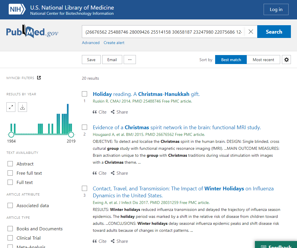 Screenshot from new PubMed