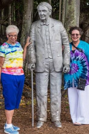 Elaine and Cheryl with Thomas Edison