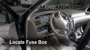 Interior Fuse Box Location: 19972001 Toyota Camry  1999 Toyota Camry CE 22L 4 Cyl