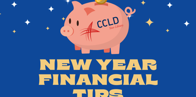 Library piggy bank. New Year Financial Tips.