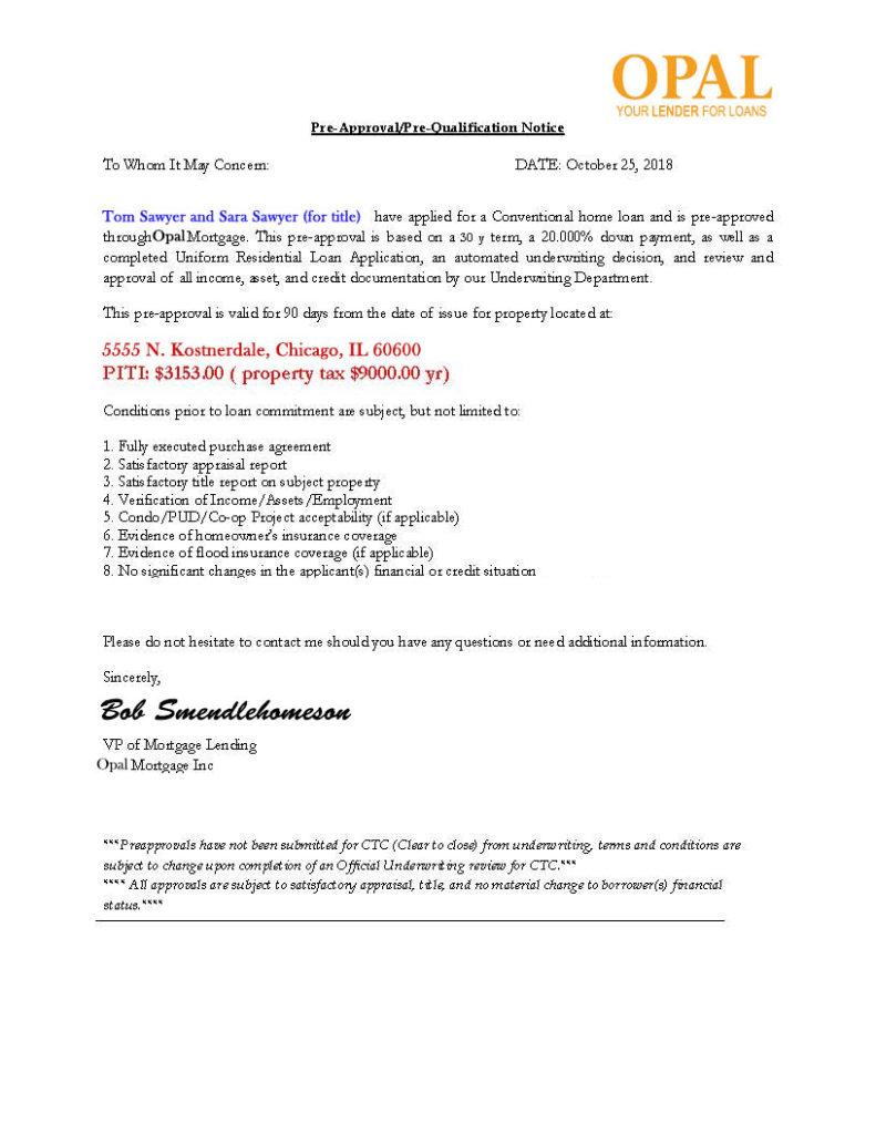 Sample pre-approval letter for Chicago lending market