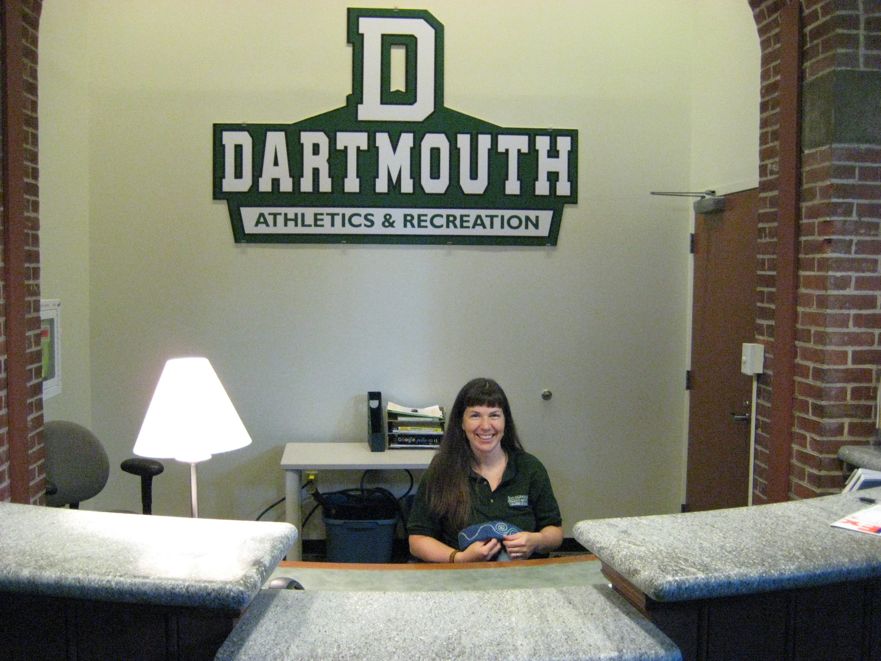 Checking id's at Dartmouth's Alumni Gym while Embroidering Hats