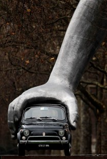 Lorenzo Quinn's Vroom Vroom Sculpture Is Installed On Park Lane