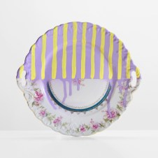 A Piece of China With Stripes - paint on found china - 2013 - 9,75 x 10,5 x 1 - 006